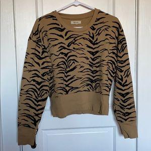 Madewell Cropped Tiger Print Sweatshirt